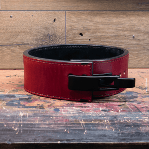 a laser engraved lever weightlifting belt